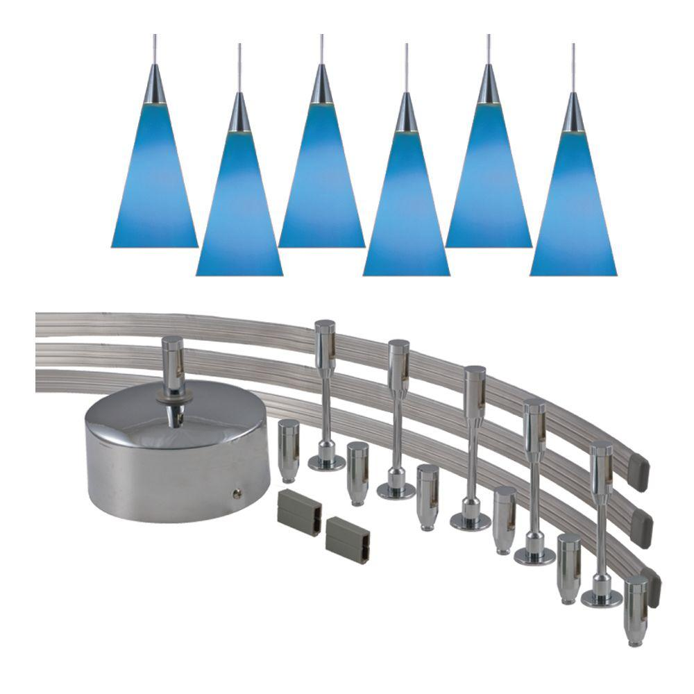 monorail pendant lighting. JESCO Lighting 144 In. Low-Voltage 300-Watt Monorail Kit With 6 Blue Pendant