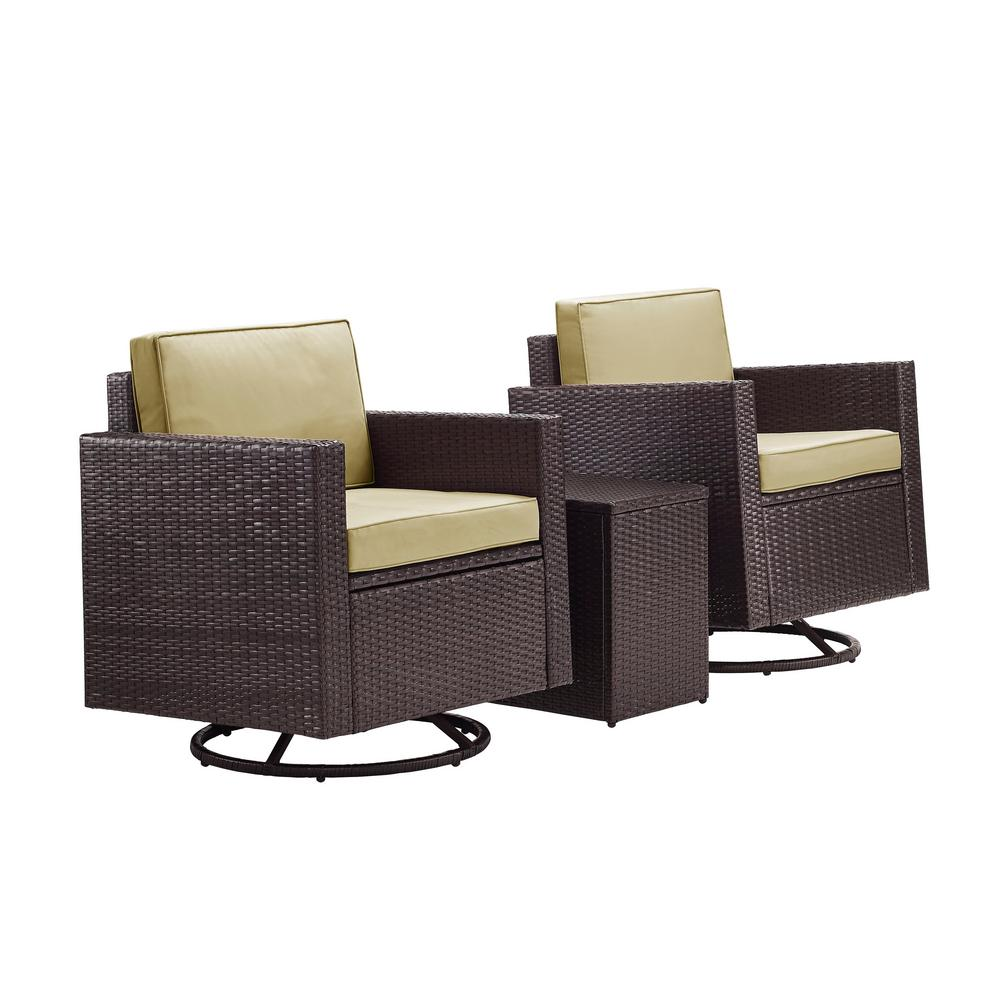 Swell Palm Harbor 3 Piece Wicker Patio Outdoor Conversation Set With Sand Cushions 2 Swivel Chairs And Side Table Andrewgaddart Wooden Chair Designs For Living Room Andrewgaddartcom