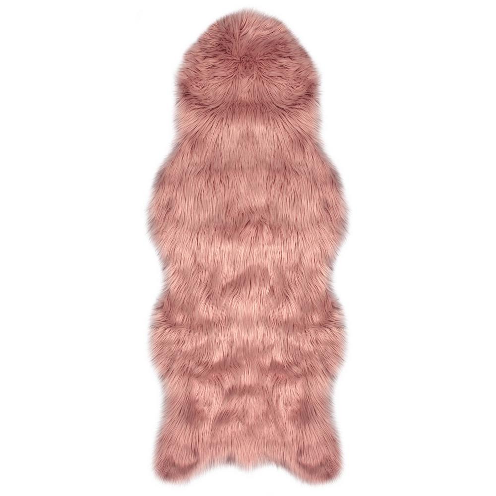 Faux-Fur Blush 5 ft. x 2 ft. Area Rug