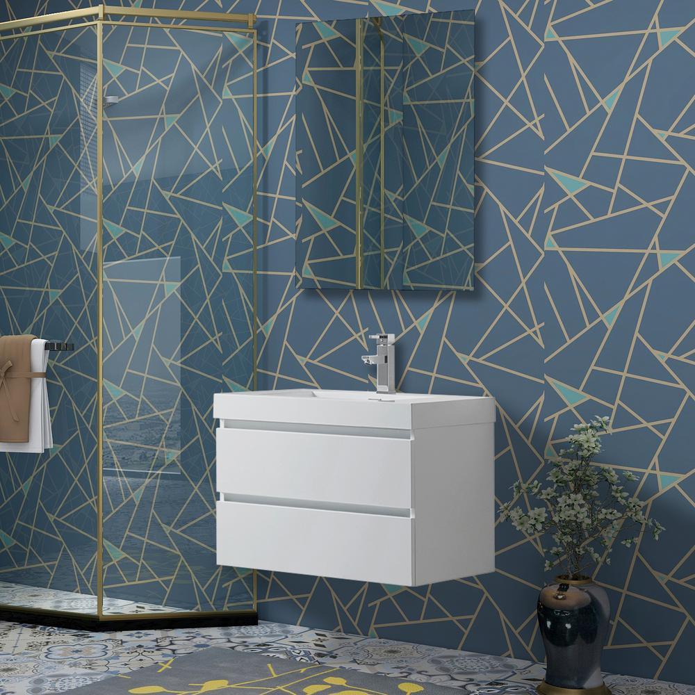 Annecy 30 in. W x 18.5 in. D x 20 in. H Bathroom Wall Hung LED Vanity in White w/ Single Basin Vanity Top in White Resin