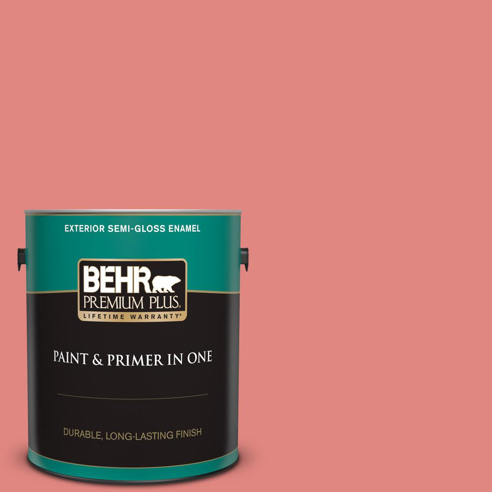 Behr Premium Plus 1 Gal Ppu1 04a Watermelon Punch Semi Gloss Enamel Exterior Paint And Primer In One 534001 The Home Depot
