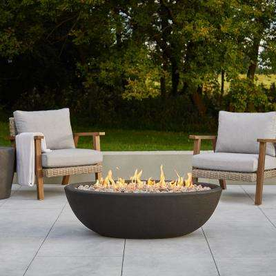 Riverside 48 in. x 15 in. Oval Concrete Composite Propane Fire Pit in Shale