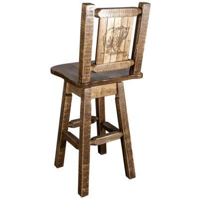 Homestead Collection 30 in. Early American Laser Engraved Bear Motif Bar Stool with Swivel Seat and Back