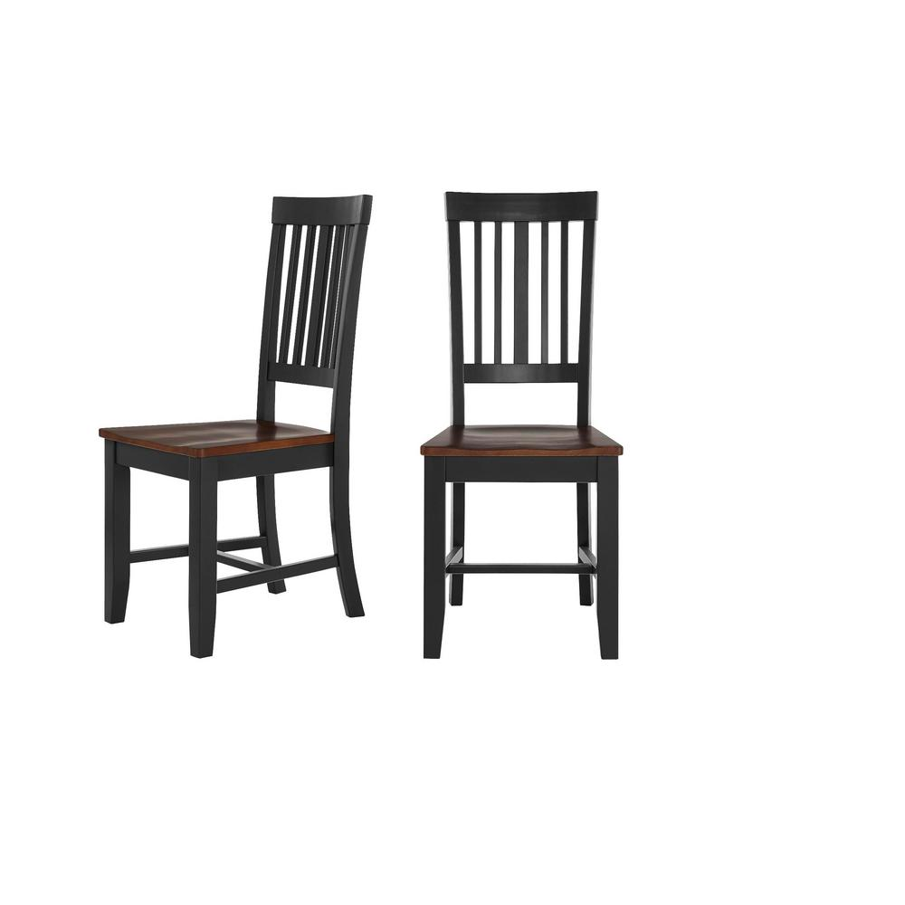 Stylewell Scottsbury Black Wood Dining Chair With Slat Back And Walnut Finish Seat Set Of 2 16 7 In W X 38 7 In H Dc 2004 Chr B W The Home Depot