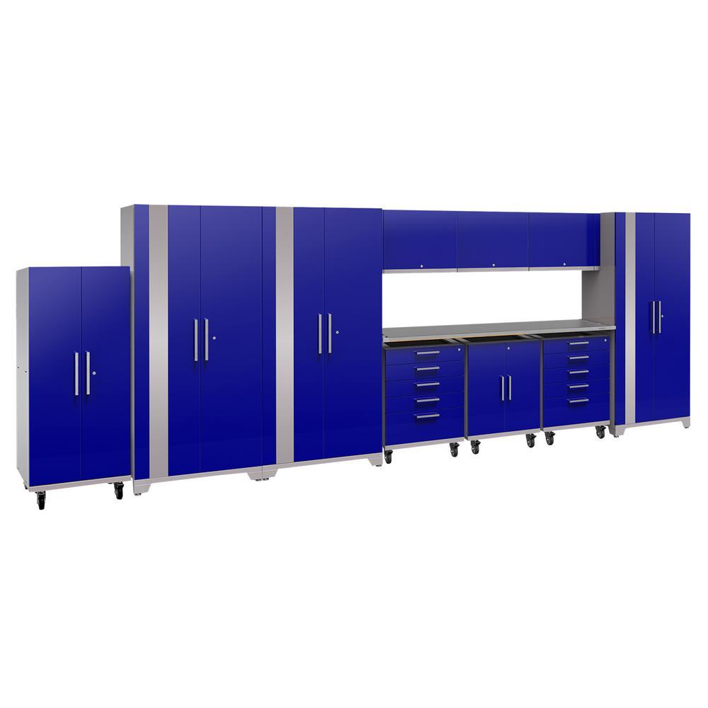 Performance Plus 2.0 80 in. H x 225 in. W x 24 in. D Steel Garage Cabinet Set in Blue (12-Piece)