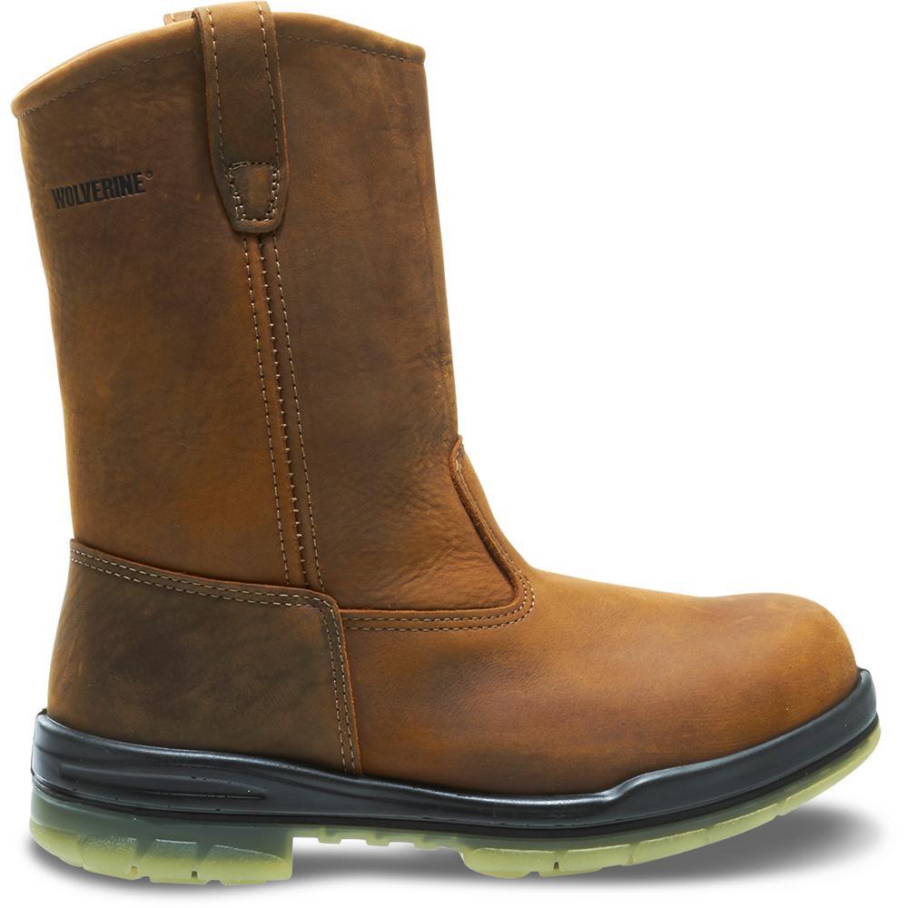 ab25e3bf678 Wolverine Men's I-90 Durashocks Size 10.5EW Brown Nubuck Leather Waterproof  Steel Toe 10 in. Boot
