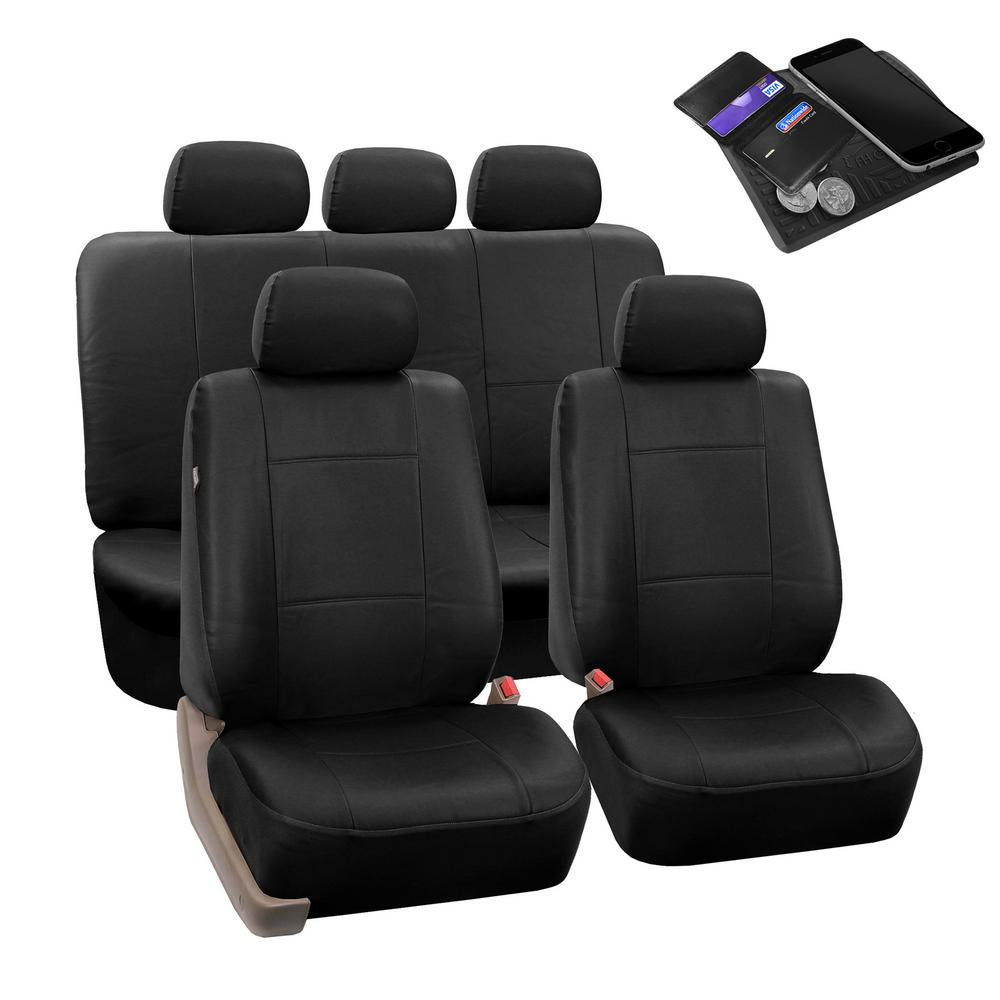 FH Group Premium PU Leather 47 in. x 23 in. x 1 in. Full Set Seat Covers