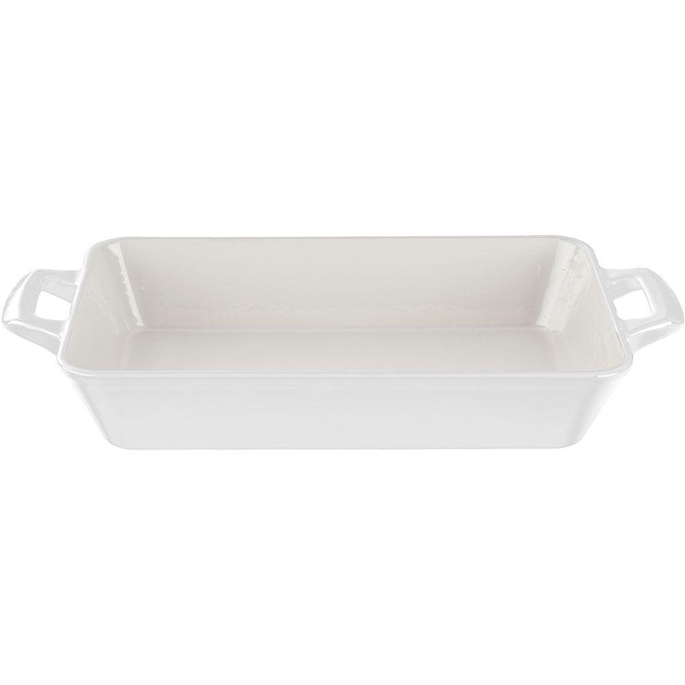 Large Deep Cast Iron Roasting Pan with Enamel Finish in White