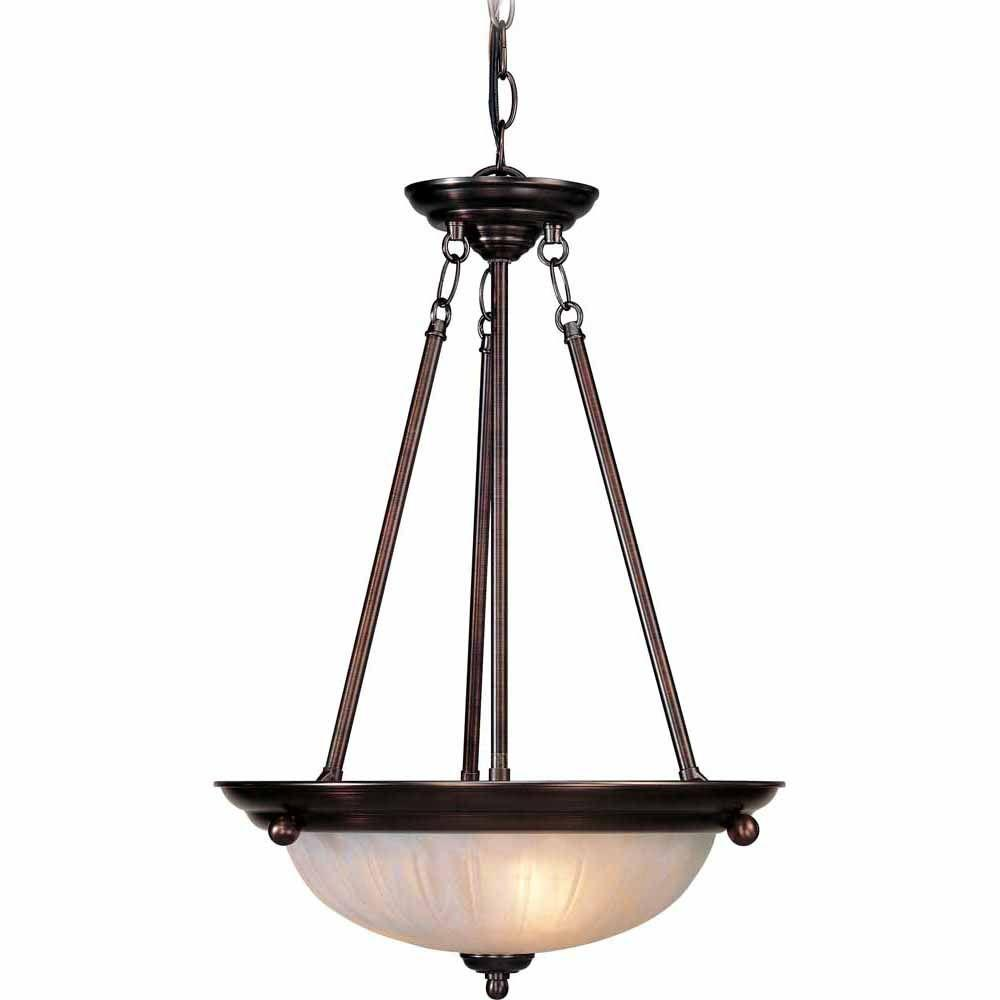 Filament Design Lenor 3-Light Antique Bronze Pendant with Alabaster Glass