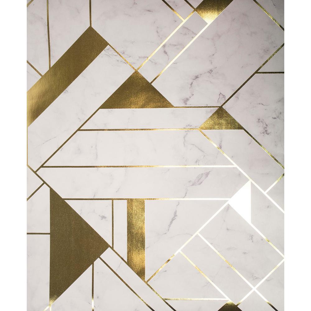 Advantage Gulliver Off-White Marble Geometric Wallpaper 2834-M1468