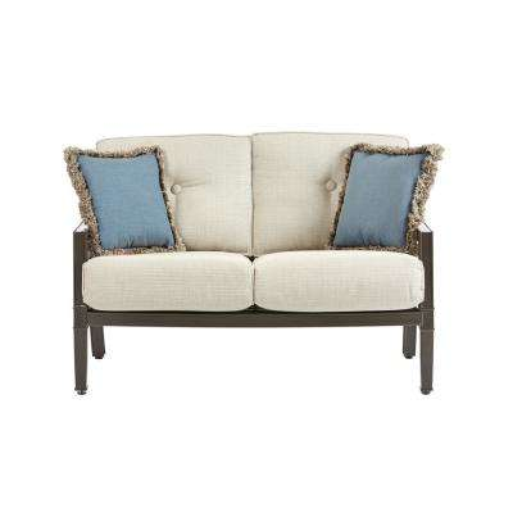 Richmond Hill Heather Slate Aluminum Outdoor Loveseat ... - Outdoor Loveseats - Outdoor Lounge Furniture - The Home Depot