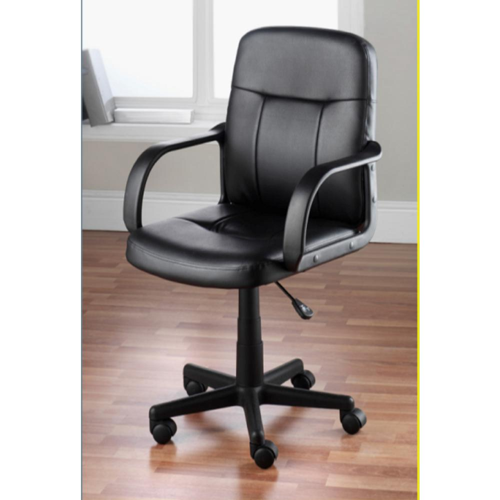 Hodedah Black Pu Leather Mid Back Office Chair