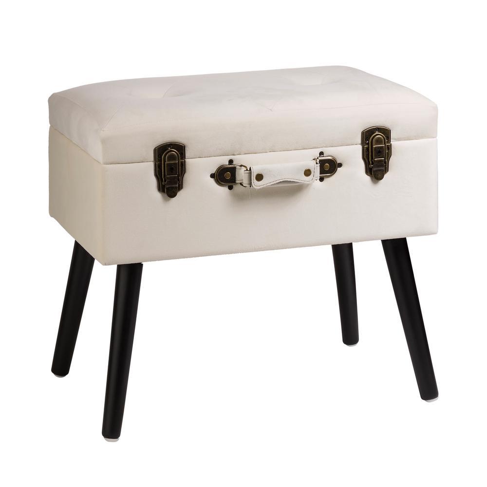 19.70 in. L Seashell White Velvet Upholstered Storage Stool with Black Solid Rubberwood Legs