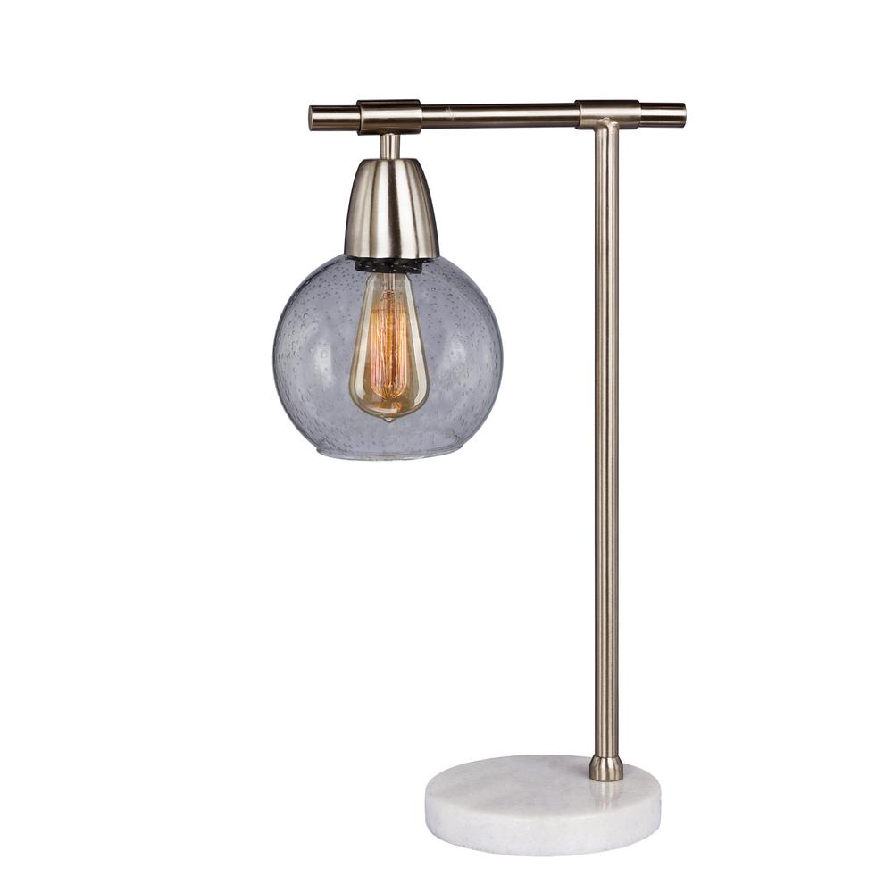 Fangio Lighting 18 In Metal And Gl Table Lamp Brushed Steel Clear With Marble Base