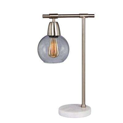 18 in. Metal and Glass Table Lamp in Brushed Steel and Clear with Marble Base