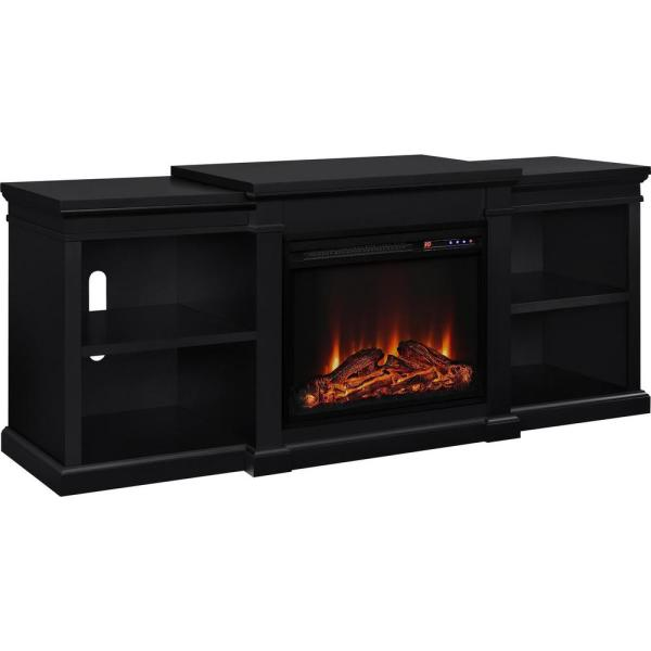 Ameriwood Paynes 70 in. Black TV Stand with Electric Fireplace HD51754