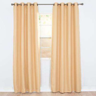 Blackout Linen Look Gold Polyester Blackout Curtain
