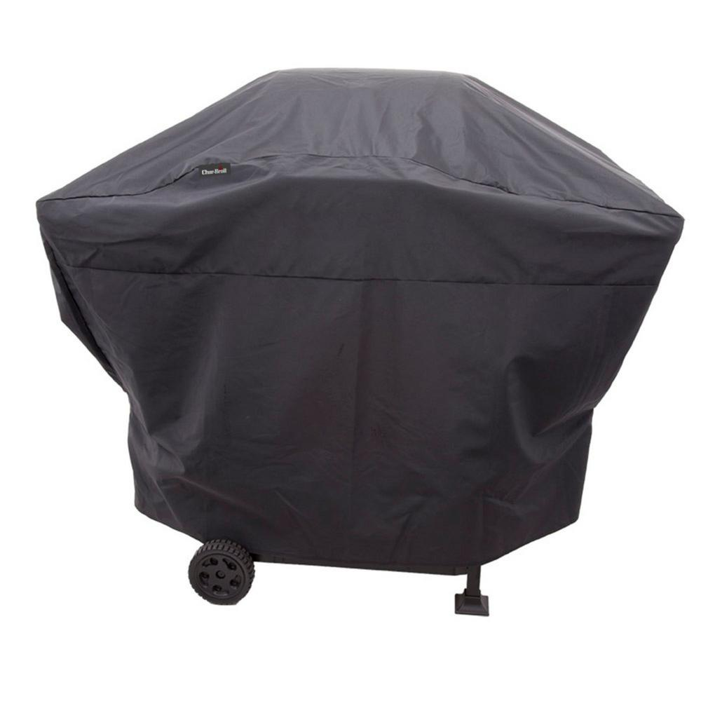 Char-Broil Medium 2-Burner Performance Grill Cover, Black Designed to fit 2 Burner Gas Grills, Medium Charcoal Grills and smokers up to 52 in. W. 18 mil thickness polyester fabric with Sun Fade Protective Liner and has UV Protection for Fade resistance. Sealed Seams for water resistance. 2-Year Warranty. Color: Black.