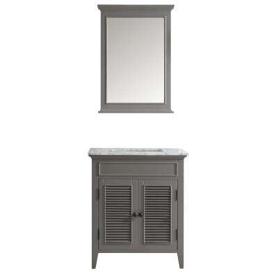 Piedmont 30 in. W x 23 in. D x 35 in. H Vanity in Grey with Marble Vanity Top in White with Basin and Mirror