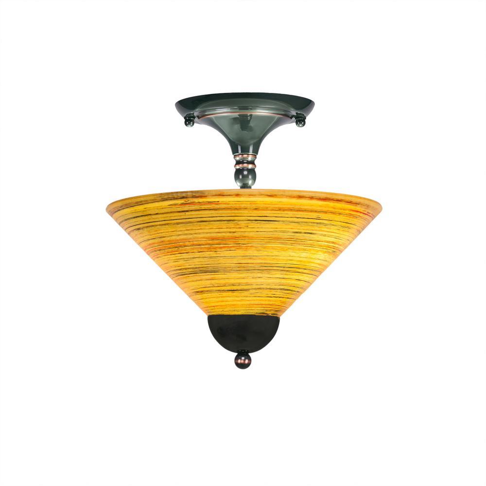 2-Light Black Copper Semi-Flush Mount