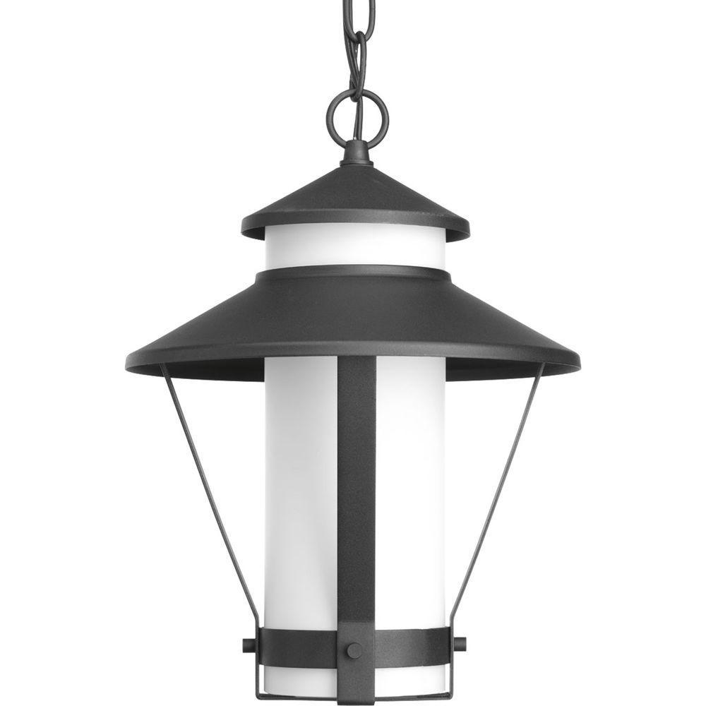 Via Collection 1-Light Black Fluorescent Outdoor Hanging Lantern