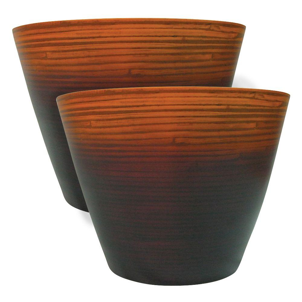 null 10 in. Ochre Striped Bamboo Planter (2-Pack)