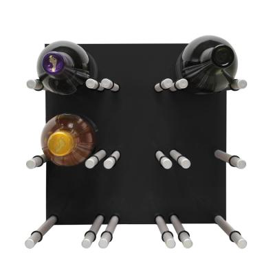 9-Bottle Black Acrylic Peg Wine Rack