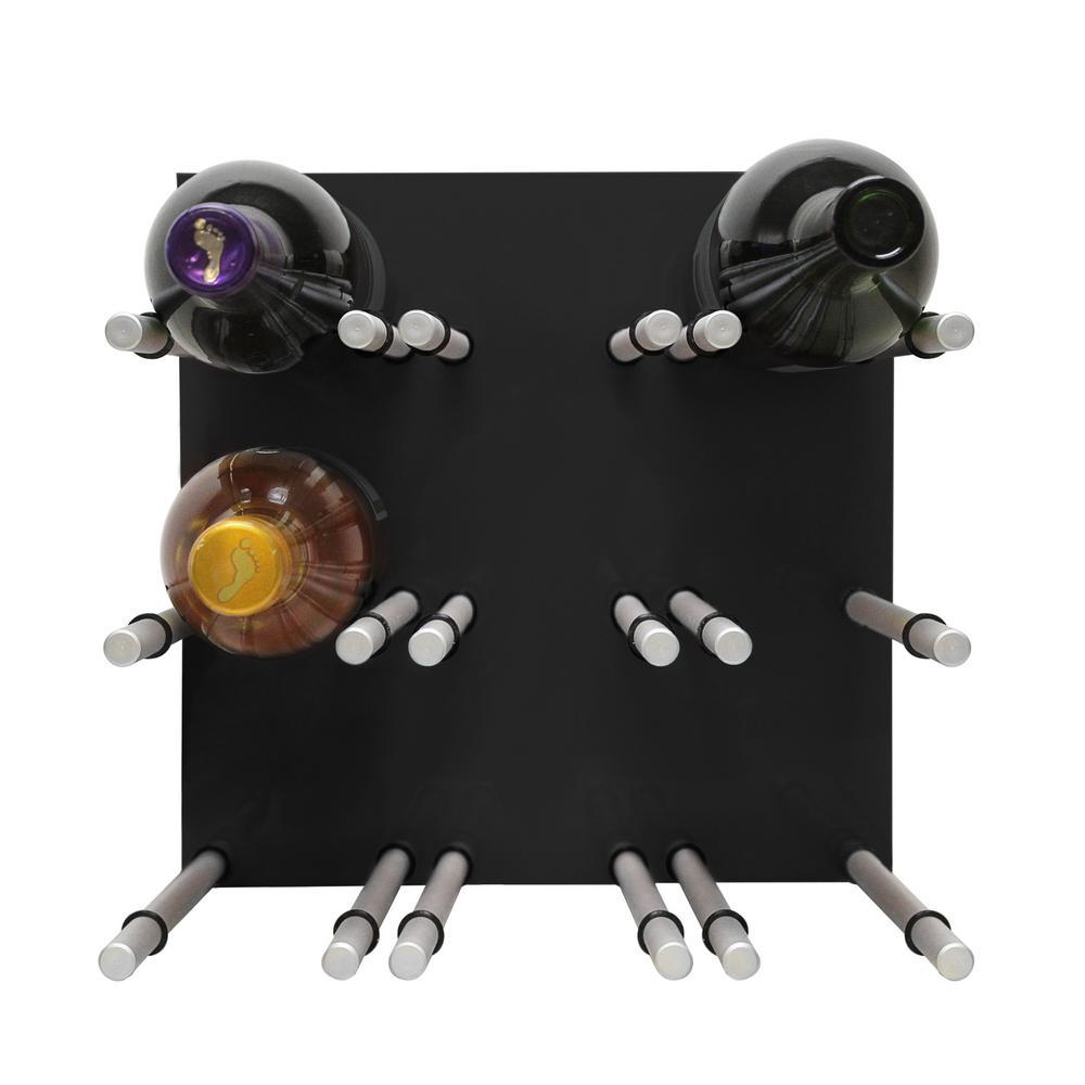 9-Bottle Black Acrylic Peg Wine Rack