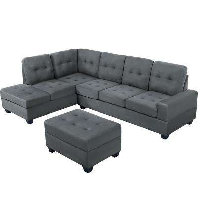 Grey 3-Piece Sectional Sofa Microfiber with Reversible Chaise Lounge Storage Ottoman and Cup Holders