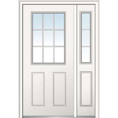 48 in. x 80 in. Internal Grilles Right Hand 1/2 Lite 2-panel Classic Primed Steel Prehung Front Door with Sidelite