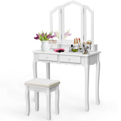 4-Drawer White Vanity Set Tri with Folding Mirror Makeup Table Stool Set Home Desk