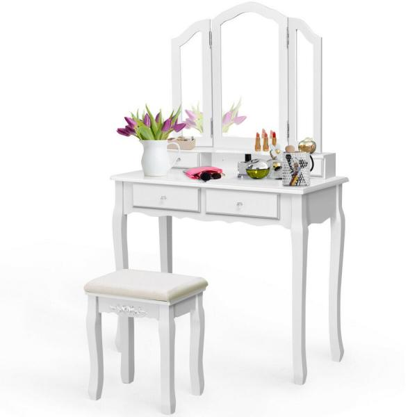 Costway 4-Drawer White Vanity Set Tri