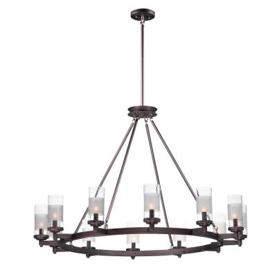 Crescendo 44 in. W 12-Light Oil Rubbed Bronze Chandelier with Clear/Frosted Shade