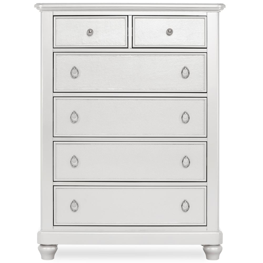 Signature Glam Silver Pearl Shimmer 6-Drawers Tall Chest