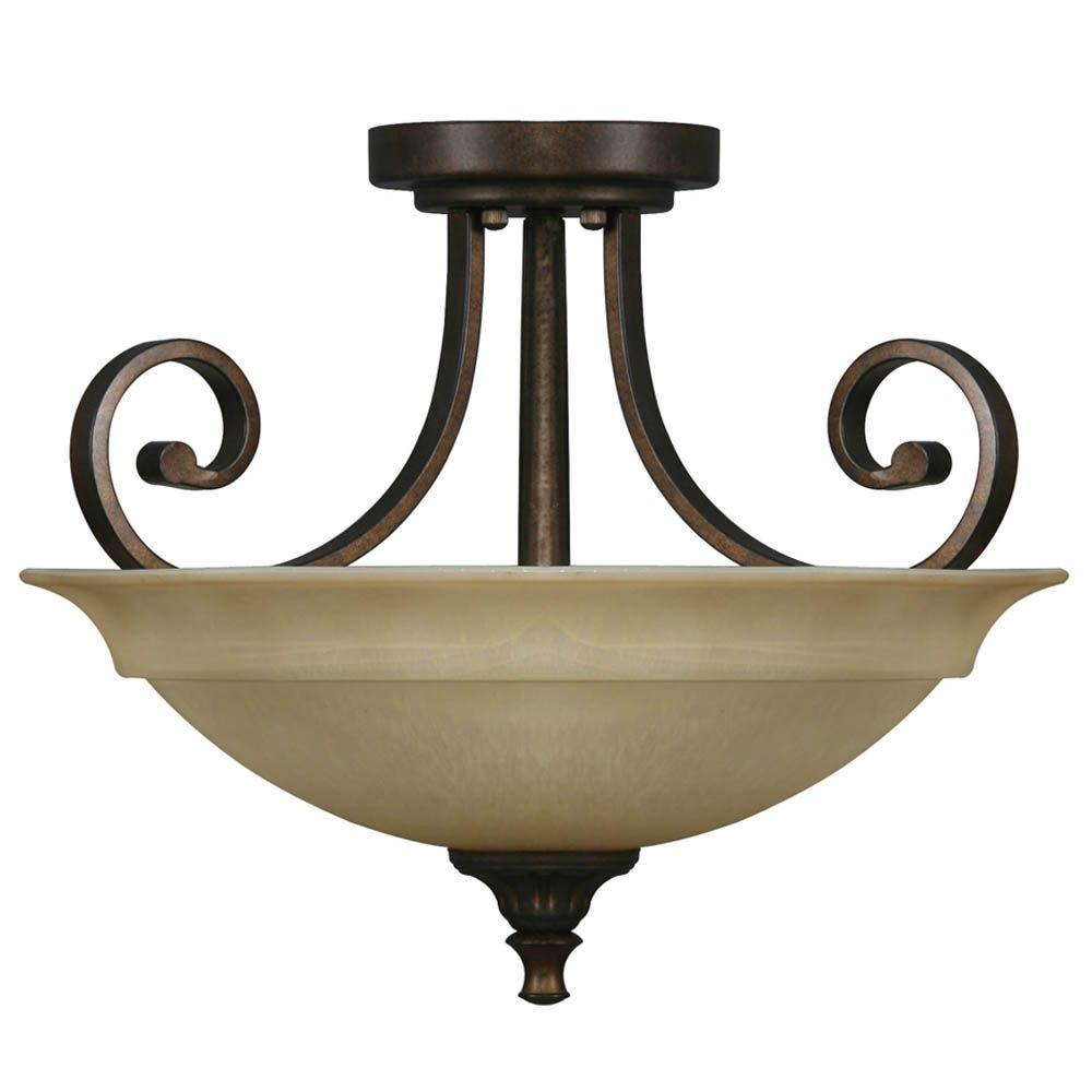 Carina 16.5 in. 2-Light Aged Bronze Semi-Flushmount with Glass Shade and