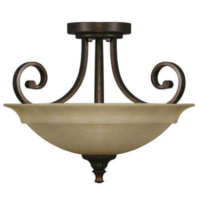 Carina 16.5 in. 2-Light Aged Bronze Semi-Flushmount with Glass Shade and Scroll Detail