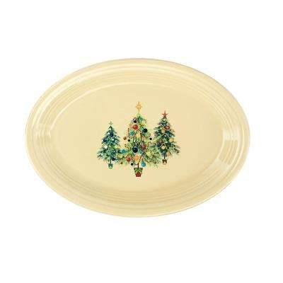 "9 5/8"" Ivory Ceramic Trio of Christmas Trees Small Oval Platter"