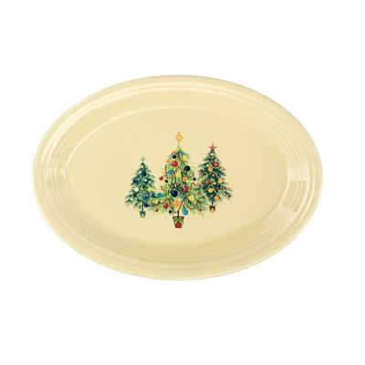 "13 5/8"" Ivory Ceramic Trio of Christmas Trees Large Oval Platter"