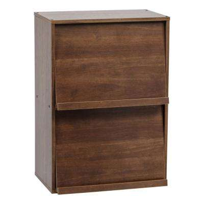 Collan Brown 2-Tier Wood Shelf with Pocket Doors