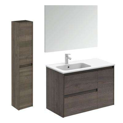 35.6 in. W x 18.1 in. D x 22.3 in. H Bathroom Vanity Unit in Samara Ash with Mirror and Column