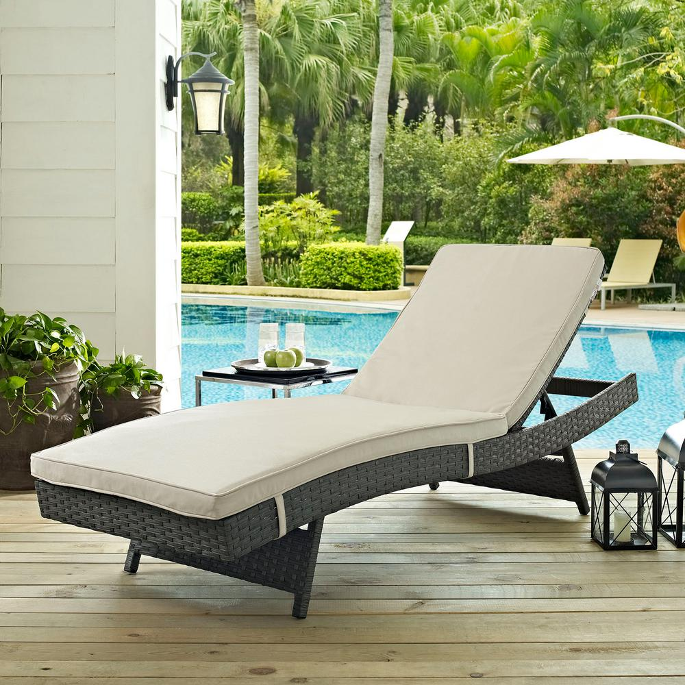 Sojourn Wicker Outdoor Patio Chaise Lounge with Sunbrella Antique Canvas Beige