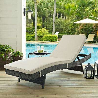Sojourn Wicker Outdoor Patio Chaise Lounge with Sunbrella Antique Canvas Beige Cushions