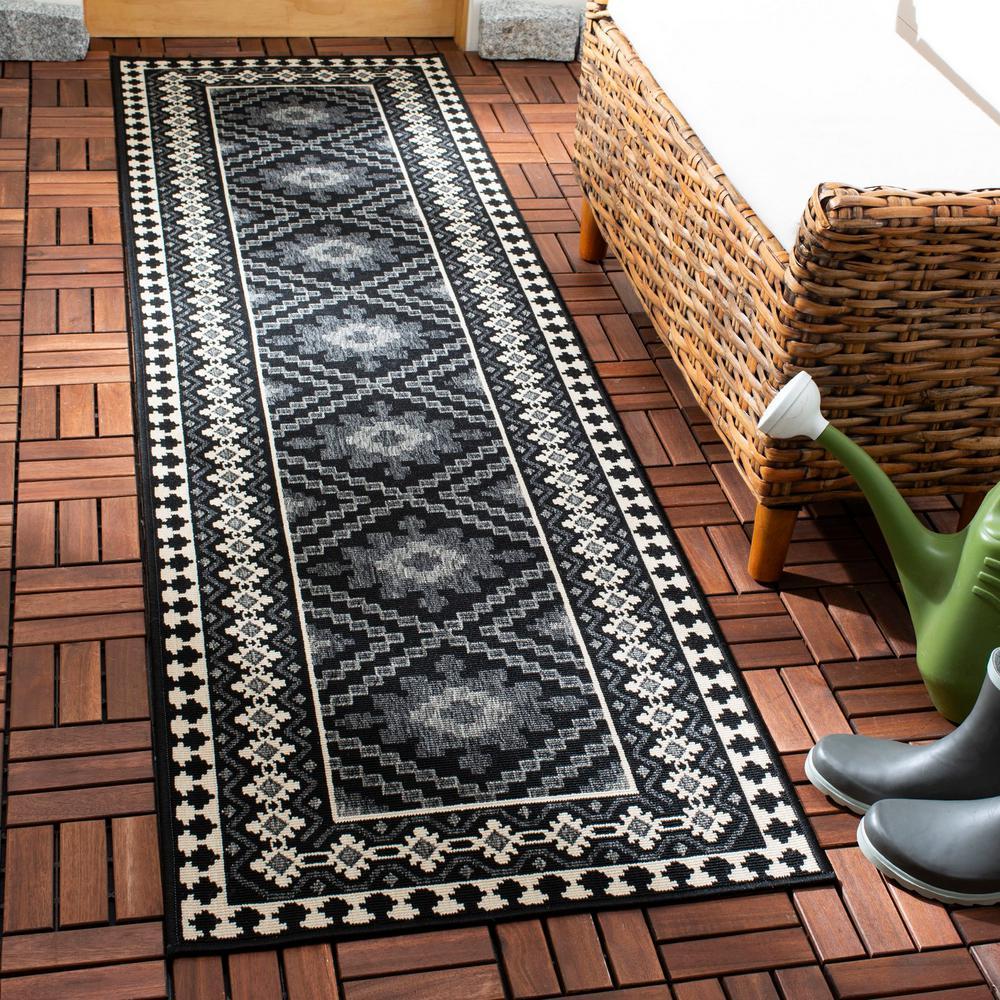 Veranda Black/Cream 2 ft. x 12 ft. Indoor/Outdoor Runner Rug
