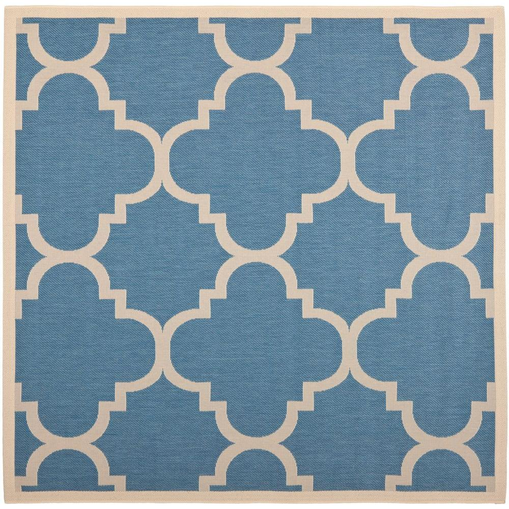 Indoor Outdoor Rugs Square: Safavieh Courtyard Blue/Beige 4 Ft. X 4 Ft. Indoor/Outdoor