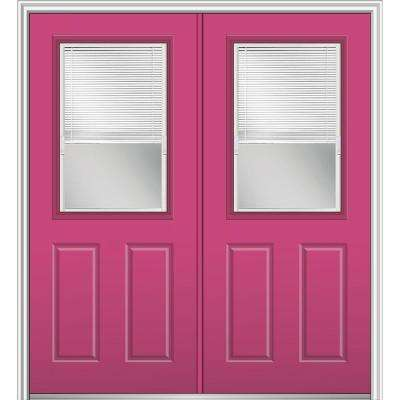 72 in. x 80 in. Internal Blinds Left-Hand Inswing 1/2-Lite 2-Panel Clear Painted Fiberglass Smooth Prehung Front Door