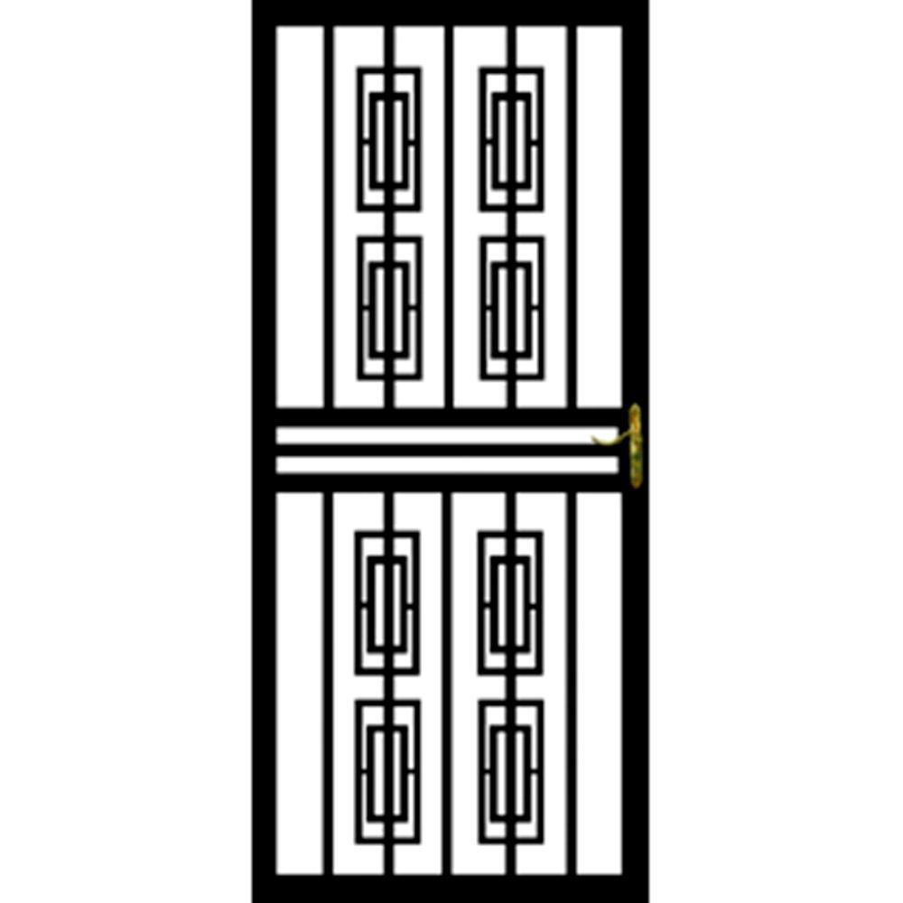 Grisham 36 in. x 80 in. 112 Series Black Institute Hinge Left Security Door with Self-Storing Glass Feature