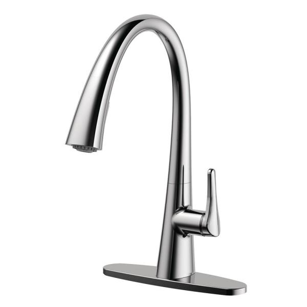 Chesapeake Single-Handle Pull-Down Sprayer Kitchen Faucet with Optional Deck Plate in Polished Chrome