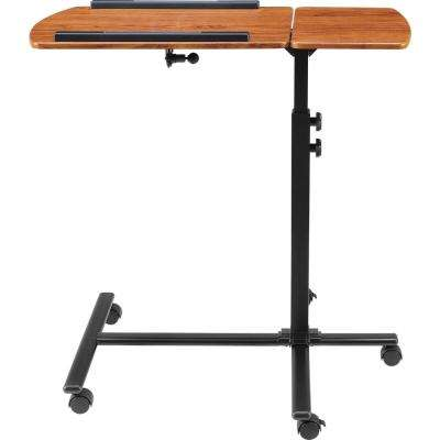 Tatum Cherry and Black Computer Desk with Wheels