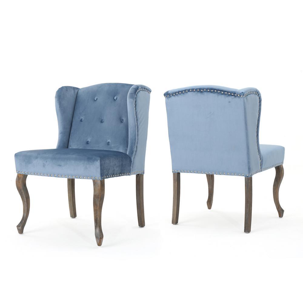 Niclas Icy Blue Velvet Chair (Set of 2)