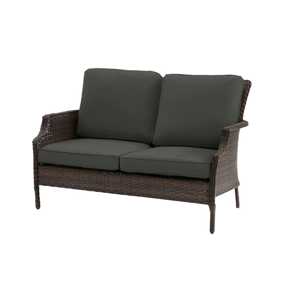 Hampton Bay Grayson Brown Wicker Outdoor Patio Loveseat with CushionGuard Graphite Dark Gray Cushions was $249.0 now $199.2 (20.0% off)